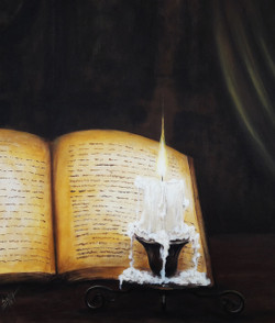 book, reading, knowledge, candle, burning candle, light, source of light, power, devotion,The Lines,ART_464_19687,Artist : Seby Augustine,Acrylic