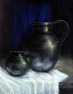 pot, antique, steel, metal, water, drink, drinks, wine, sharing, metallic, ,The Jars,ART_464_19663,Artist : Seby Augustine,Acrylic