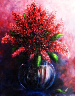 Flower, pot, Red flowers, decorative,The Red Flowers,ART_464_19662,Artist : Seby Augustine,Acrylic