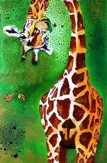 animal, giraffe, green, nature, wildlife, kids, fun, joy, colourful, brown, metallic, shine, bronze, gold, classy, interior, best selling, top selling, sale, discount, demand, famous, portrait, cute, funny, humor, contrast, vibrant, eyes, food, welcome,missmessyartist The Funny Giraffe,ART_1538_19804,Artist : NEHA PATIDAR,Mixed Media