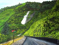Thamarassery - 32in X 24in,ART_KERA21_3224,Artist Kishore Raja,road side view,nice landscape,greenary at street side,kerala special paintings - Buy painting Online in india