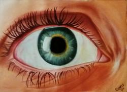 Portrait, realism, expressive art,A Realistic Human Eye ,ART_1533_20259,Artist : Dimple Kapoor,Oil