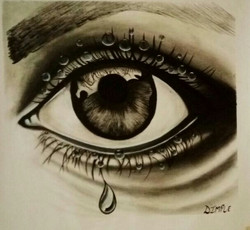 human eye, feminine, portrait, expressive, realism,eye with water droplets,ART_1533_20255,Artist : Dimple Kapoor,Oil