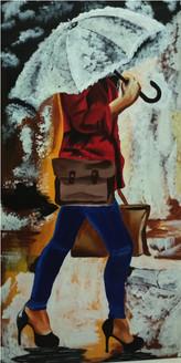 FEMALE ,RAIN SURROUNDS GIRL,ART_2931_20363,Artist : SAGAR SHAH,Acrylic