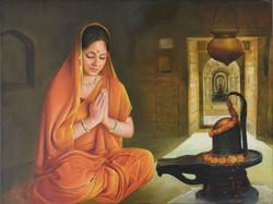 Shiva,shivling,lady,temple,bhakti,devotee,devotion,india,prayer,kamal rao,shiv abhishek,oil on canvas,Shiv Puja,ART_640_8910,Artist : Kamal Rao,Oil