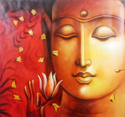 Buddha With Red Shade - 30in X 30in,ART_PIJN38_3030,Acrylic Colors,Buddha ,Red ,Orange  shade buddha,Mediatation,Peace Artist Pallavi Jain,Museum Quality - 100% Handpainted Buy Paintings Online in India