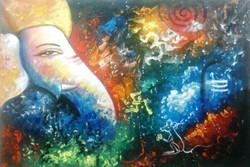 Multicolor Ganesha - 36in X 24in,ART_PIJN43_3624,Acrylic Colors,Colorful,multi color Ganesha,Ganesha,morya Artist Pallavi Jain,Museum Quality - 100% Handpainted Buy Paintings Online in India
