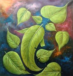 Leaf Ganesha - 30in X 30in,ART_PIJN45_3030,Acrylic Colors,Ganesh,Bappa,Deep,Diya Artist Pallavi Jain,Museum Quality - 100% Handpainted Buy Paintings Online in India