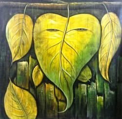Face Leaf Ganesha - 30in X 30in,ART_PIJN46_3030,Acrylic Colors,Ganesh,Bappa,Deep,Diya Artist Pallavi Jain,Museum Quality - 100% Handpainted Buy Paintings Online in India