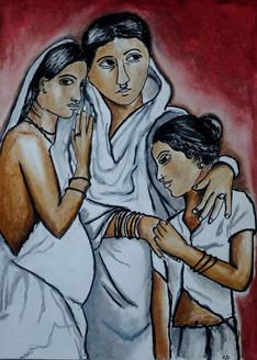 India, woman, realism, strength, vulnerability,A mother with daughters,ART_3064_20822,Artist : Rekha Divakaran,Pastels