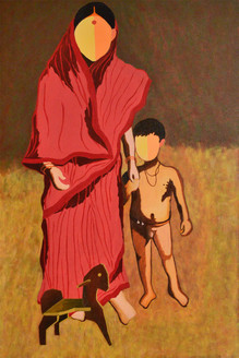 Mother and child,Mother and Child,ART_3065_20820,Artist : Bobby Bangalore,Acrylic