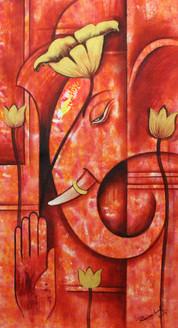 Ganesha ,Ganpati art04,ART_1522_20919,Artist : Ram Achal,Acrylic
