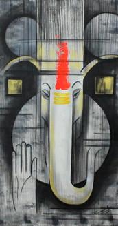 Ganesha ,Ganpati Art 01 ,ART_1522_20916,Artist : Ram Achal,Acrylic
