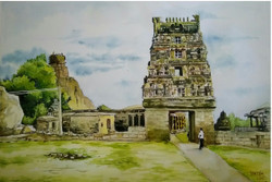 India traditional religious temple Santosh Loni watercolour painting ,Religious temple of India,ART_715_15194,Artist : Santosh Loni,Water Colors