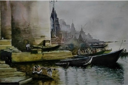 Kashi ghat india traditional devotional Santosh Loni watercolour painting ,India,ART_715_15193,Artist : Santosh Loni,Water Colors