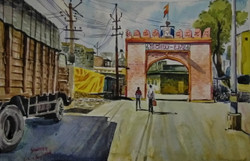 Athani agasi Siddeshwar temple Santosh Loni monument water colour ,Athani Siddeshwar temple Gate(Agasi),ART_715_15189,Artist : Santosh Loni,Water Colors