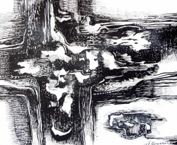 Abstract Series 01 - 11in X 09in,ART_AKRR51_1109,Ink Color,Artist Ashok Revankar,Abstract Art,Abstract Black and White paintings Paintings - Buy painting online in india