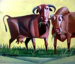 new painting,Grazing cattles,ART_3164_21191,Artist : Albert Ashok,Acrylic