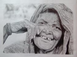 sketch , paper , old woman , portrait , pencil drawing ,The Divine Smile,ART_3144_21383,Artist : Ratul Das,Pencil