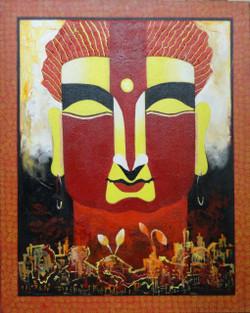 The Buddha - 24in X 30in,ART_KAPL02_2430,Acrylic Colors,Kankana Pal,Buddha,Meditation, Peace, Aihinsa- Buy painting Online in India