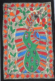 Beautiful Peacock (ART_2168_21476) - Handpainted Art Painting - 7in X 11in