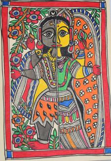 Beautiful Painting of God Shivji and goddess Parvatiji (ART_2168_21446) - Handpainted Art Painting - 7in X 11in