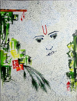 Abstract Krishna 01 - 09in X 12in,ART_KAPL04_0912,Mixed Media,Paper,Artist Kankana Pal,Krishna, Kannaya,Bal Gopal - Buy Paintings Online in India.