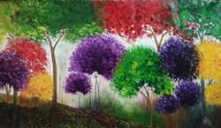 trees , forest , jungle , colours , colourful , colorful , textured , ,Rainbow Jungle,ART_1000_16377,Artist : Shilpi Patel,Oil