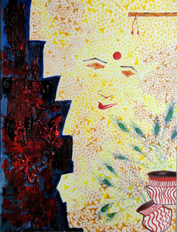 Abstract Krishna 02 - 09in X 12in,ART_KAPL05_0912,Mixed Media,Radha,Paper,Artist Kankana Pal,Krishna, Kannaya,Bal Gopal - Buy Paintings Online in India.