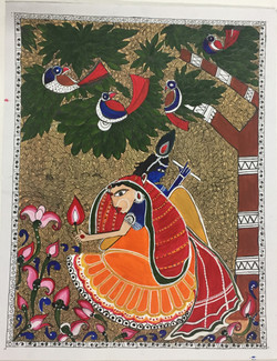 Madhubani;Krishna; Radha; Rejoice; Gardent; Birds,Hand Painted Radha Krishna Jubilation in Madhubani Styled abstract,ART_3190_21575,Artist : Anjali Gupta,Acrylic