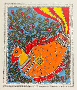 Abstract, Bird, Flowers, Madhubani,Hand Painted Abstract of a colourful bird in vivid colours,ART_3190_21574,Artist : Anjali Gupta,Acrylic