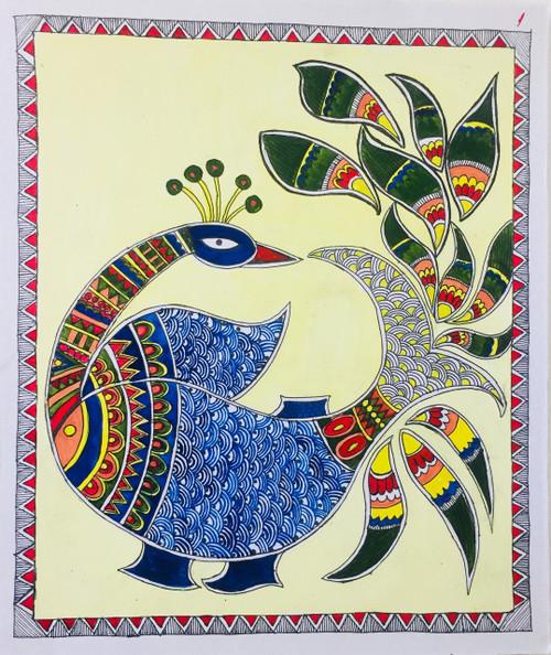Peacock, Fish, Fusion, Madhubani, Abstract,Hand Painted Fusion of Peacock and Fish in Madhubani Style,ART_3190_21573,Artist : Anjali Gupta,Acrylic