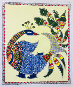 Peacock, Fish, Fusion, Madhubani, Abstract,Hand Painted Fusion of Peacock and Fish in Madhubani Style,ART_3190_21573,Artist : Anjali Gupta,Acrylic