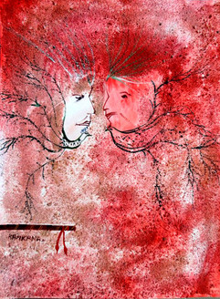 Abstract Krishna 05 - 09in X 12in,ART_KAPL08_0912,Mixed Media,Radha,Paper,Artist Kankana Pal,Krishna, Kannaya,Bal Gopal - Buy Paintings Online in India.