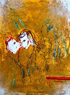 Abstract Krishna 08 - 09in X 12in,ART_KAPL11_0912,Mixed Media,Gopika,Radha,Paper,Artist Kankana Pal,Krishna, Kannaya,Bal Gopal - Buy Paintings Online in India.