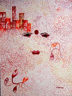 Abstract Krishna 11 -  09in X 12in,ART_KAPL14_912,Mixed Media,Gopika,Radha,Paper,Artist Kankana Pal,Krishna, Kannaya,Bal Gopal - Buy Paintings Online in India.