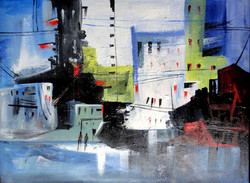Abstract City Art 01 - 16in X 12in (Canvas Board),ART_KAPL15_1612,Kankana Pal,Museum Quality - 100% HandpaintedCity, Buildings - Buy Paintings online in india