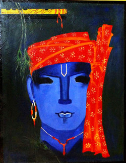 Blue Krishna - 16in X 20in ,ART_KAPL19_1620,Kankana Pal,Museum Quality - 100% HandpaintedCity,Gopal, BAl gopal, Krish - Buy Paintings online in india