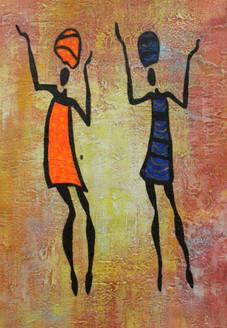 African Art 20 (ART_1522_21724) - Handpainted Art Painting - 12in X 18in