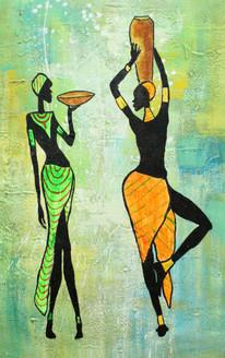 African Art 16 (ART_1522_21712) - Handpainted Art Painting - 12in X 18in