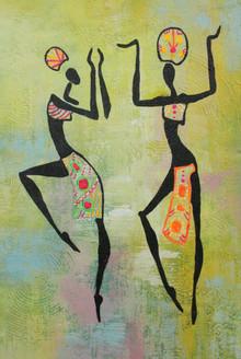 African Art 12 (ART_1522_21708) - Handpainted Art Painting - 12in X 18in
