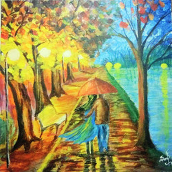 Couple under umbrella (ART_3277_21776) - Handpainted Art Painting - 20in X 20in