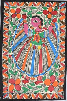 Village woman dancing (ART_2168_21474) - Handpainted Art Painting - 7in X 11in