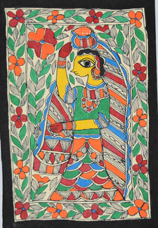 Village woman carrying water (ART_2168_21473) - Handpainted Art Painting - 7in X 11in