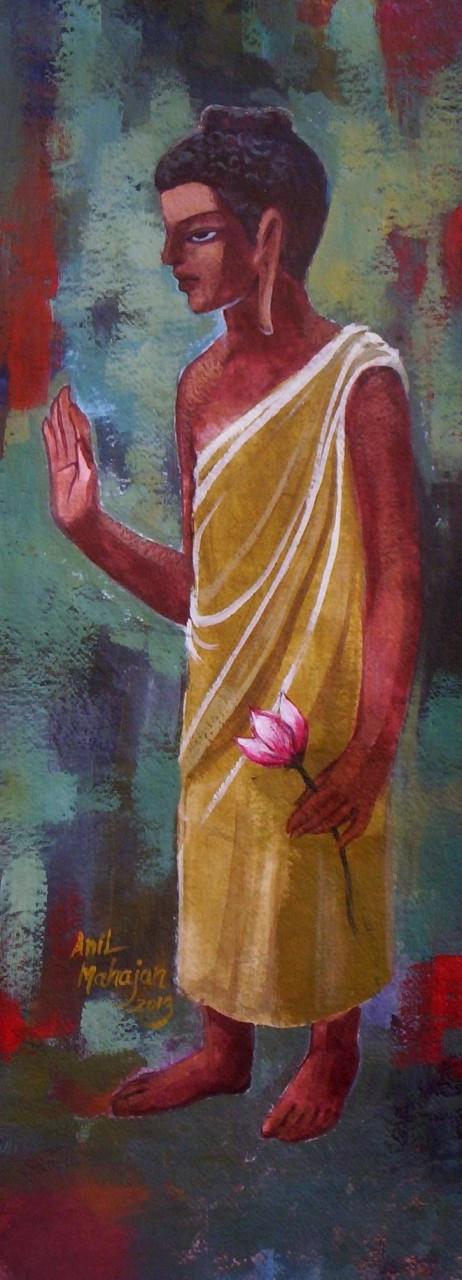 Buddha 10 10in X 28in Art Almn26 1028 Acrylic Color