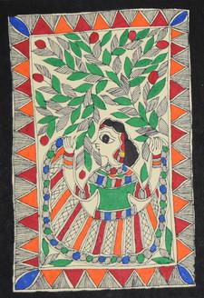 Woman dancing around the tree (ART_2168_21470) - Handpainted Art Painting - 7in X 11in