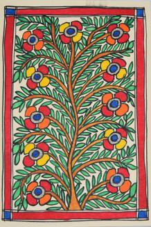 Eternal love of Shri Krishna and Radhaji (ART_2168_21467) - Handpainted Art Painting - 7in X 11in