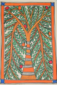 Eternal love of Shri Krishna and Radhaji (ART_2168_21466) - Handpainted Art Painting - 7in X 11in