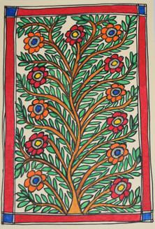 Eternal love of Shri Krishna and Radhaji (ART_2168_21465) - Handpainted Art Painting - 7in X 11in
