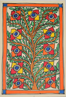 Beautiful painting of a Tree (ART_2168_21464) - Handpainted Art Painting - 7in X 11in